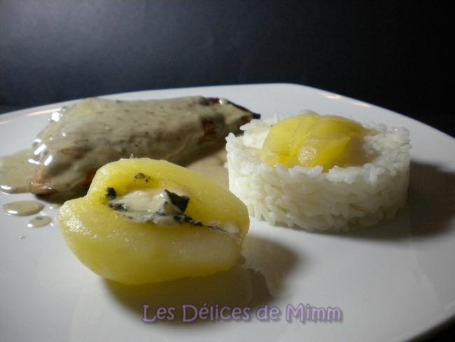 Escalope de dinde entre poire et Roquefort