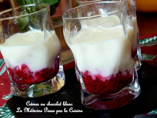 Crèmes dessert au chocolat blanc et framboises