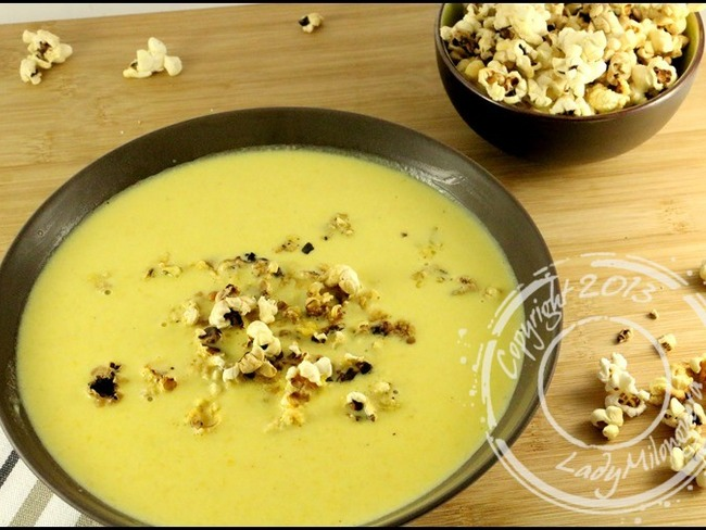Soupe de maïs au pop corn
