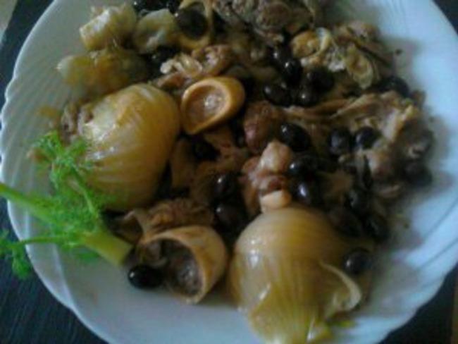 Jarret de veau confit aux olives