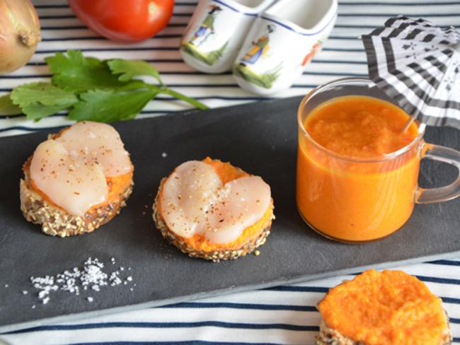 Tapas de saint-Jacques, et cappuccino de légumes