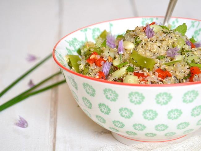 Taboulé de quinoa aux haricots plats et crudités de saison