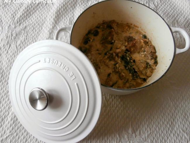 Sauté de veau aux courgettes, champignons et Fourme d'Ambert