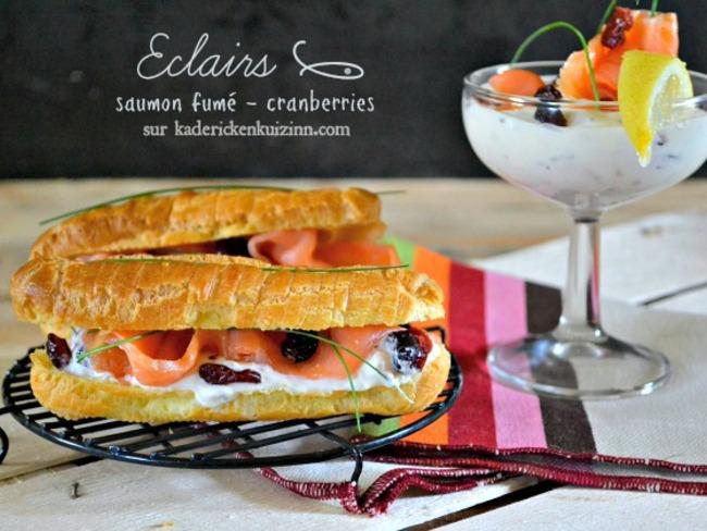 Choux ou éclair sucré-salé saumon fumé et cranberries