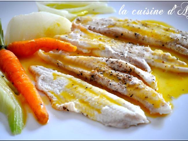 Filets de sole pochés au beurre de clémentine