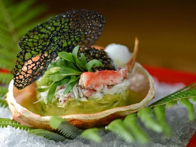 Terrine d'avocat aux coquilles Saint-Jacques et salade de fruits de mer
