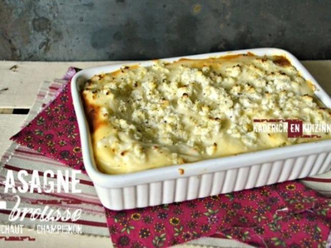 Lasagnes fraiches à la brousse, artichaut et champignon