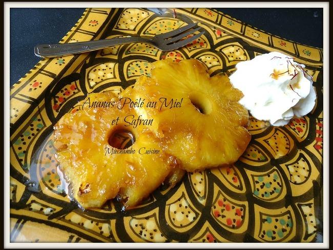 Ananas poêlé au miel et au safran
