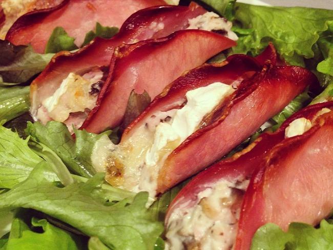 Pirogues de Bacon aux fromages et champignons