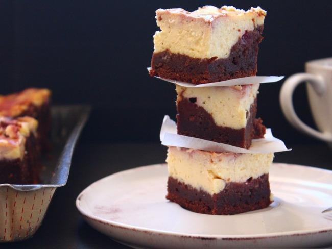 Brownie marbré aux framboises