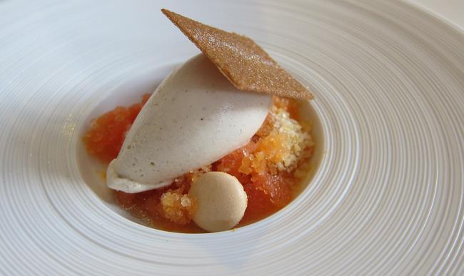 Granité de fruit, glace vanille