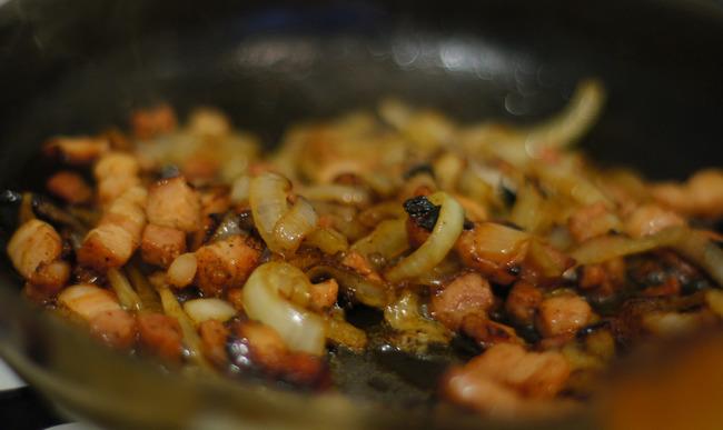 Lardon et oignons frits