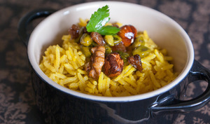 Riz pilaf au curry et fruits secs