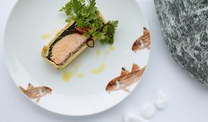 Assiette de koulibiac de saumon