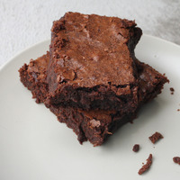 Parts de brownie sur assiette