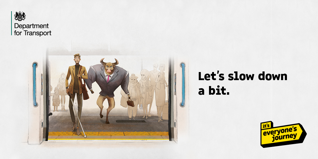 A cartoon bull charges through a station, knocking people aside