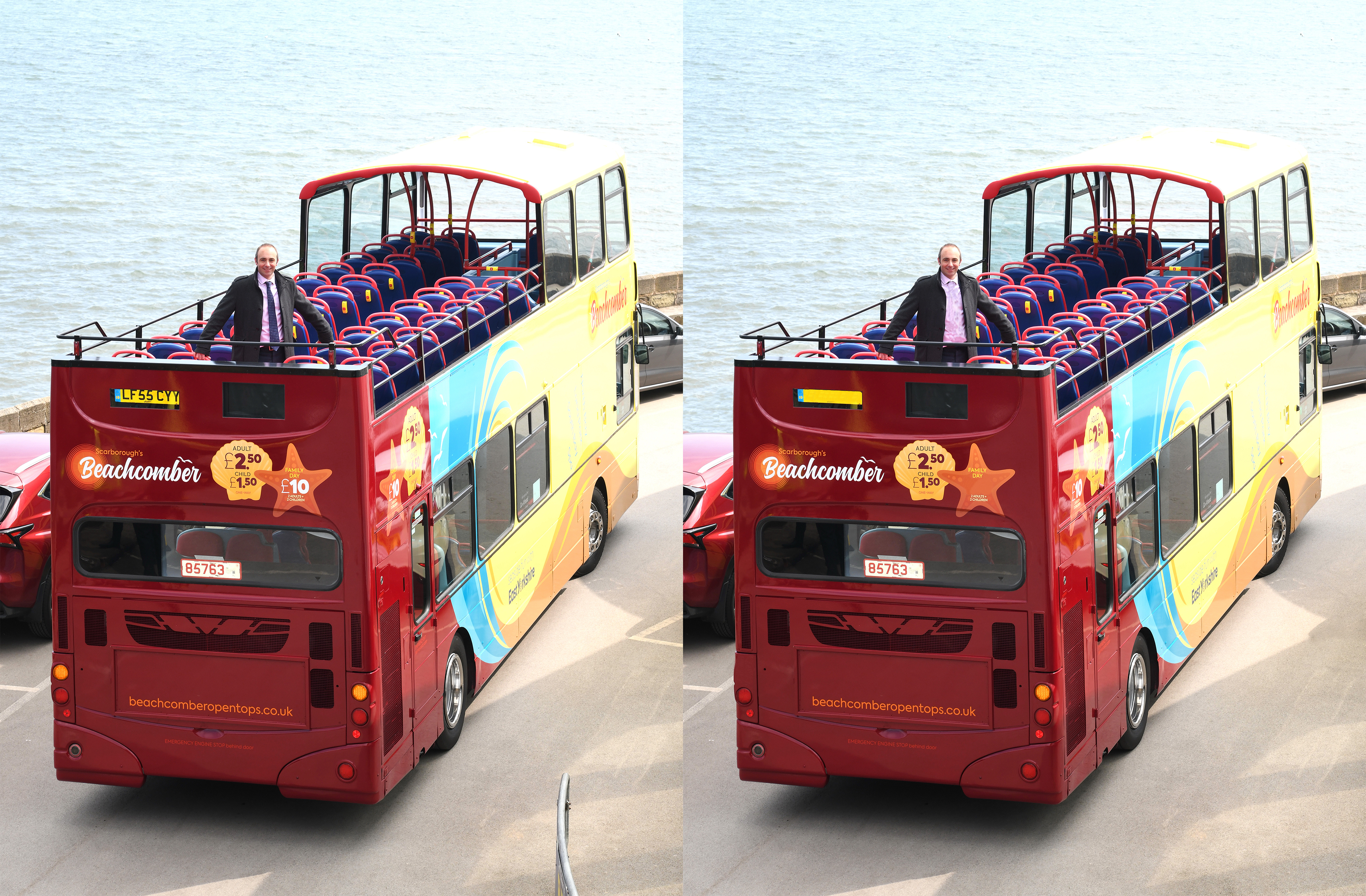 Two slightly different pictures of our Beachcomber open top bus