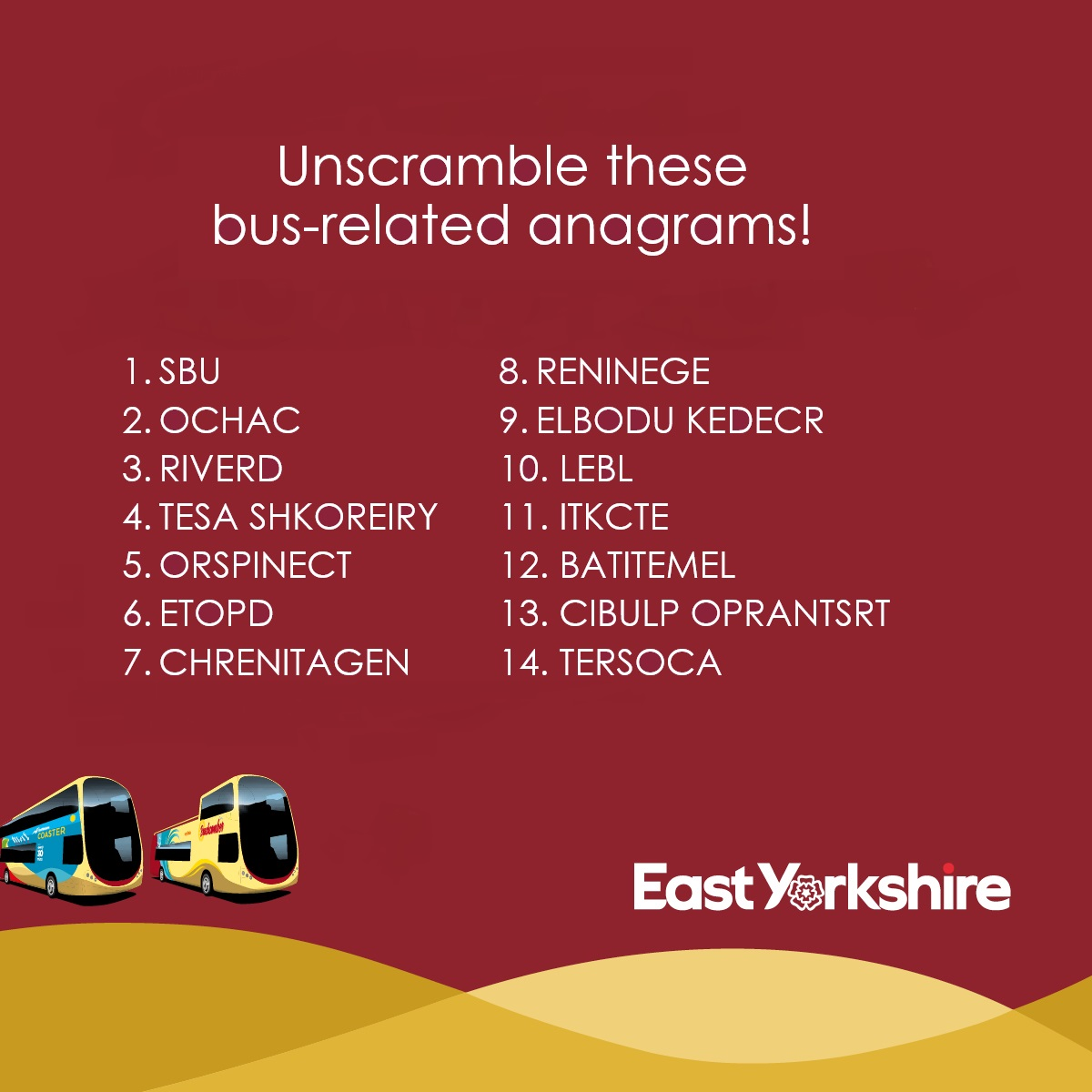 Bus word anagrams