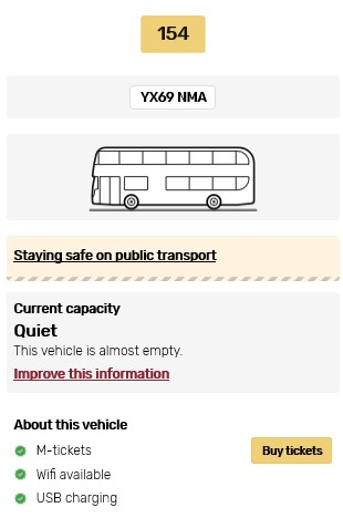 An example of the information that can be seen about each bus