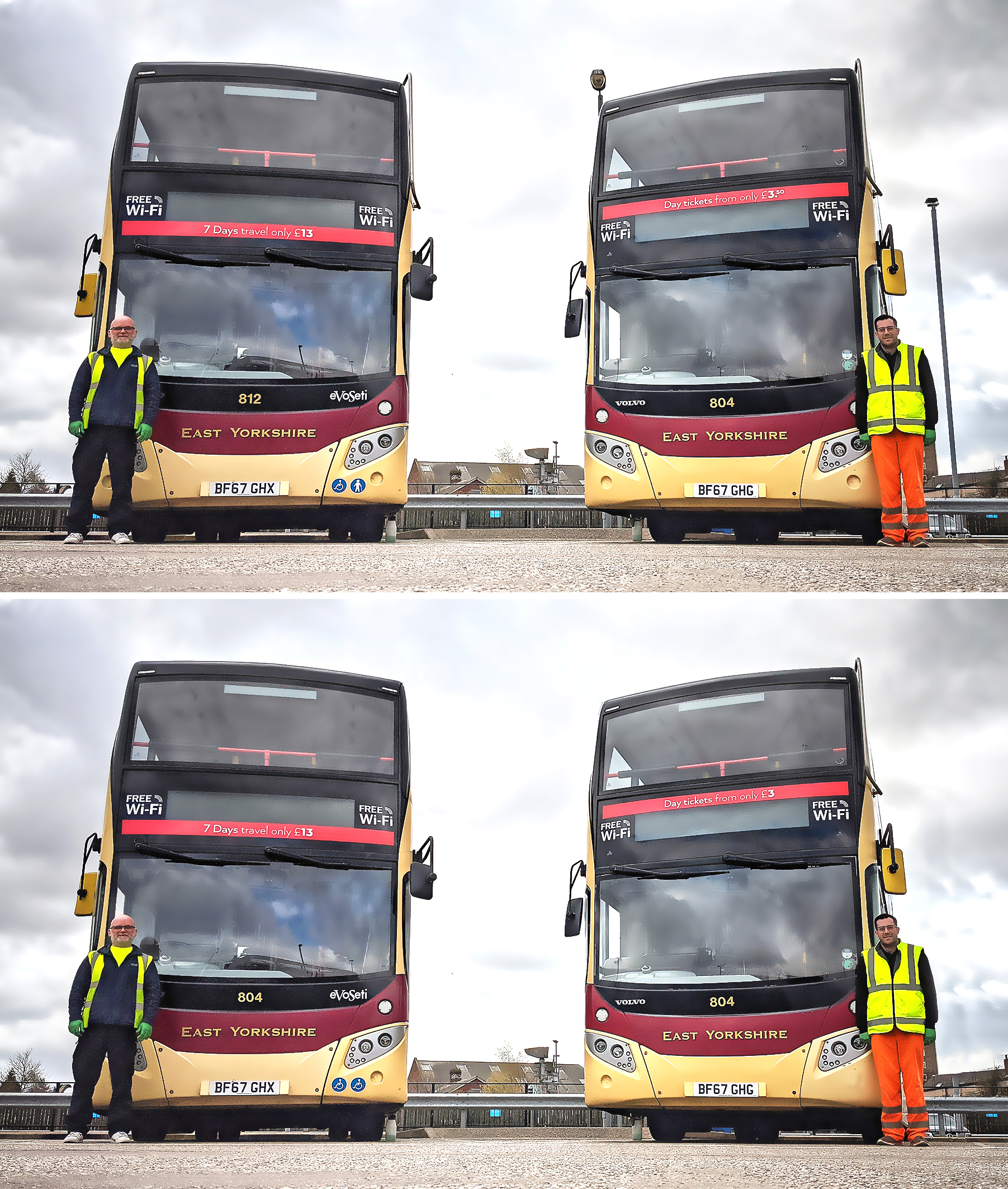 Two men in high-viz clothing stand beside two double decker buses
