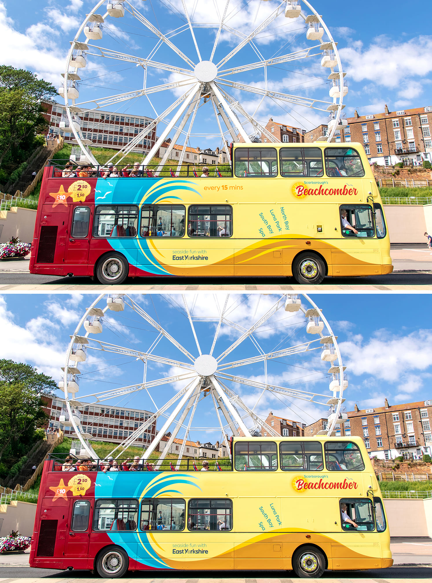 Spot the difference game with two open top buses