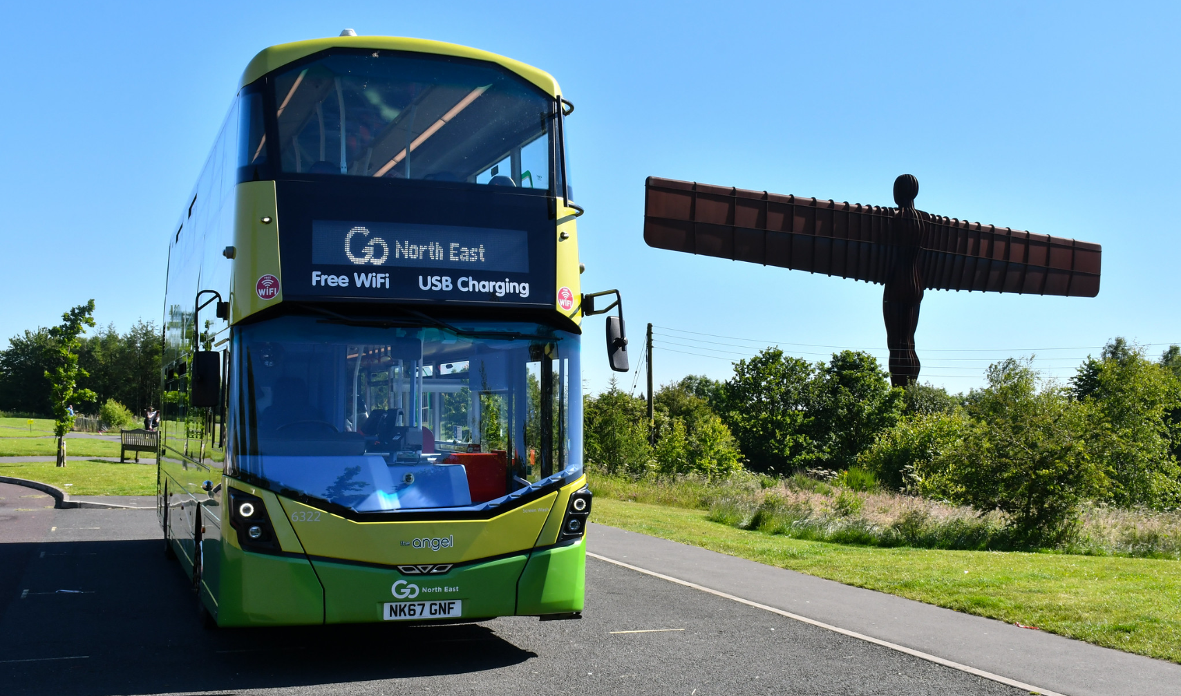 Angel bus at the Angel of the North