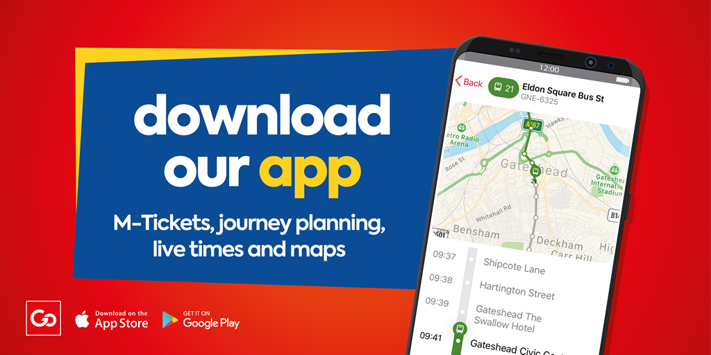 Go North East app - m-tickets, journey planning, live times and maps