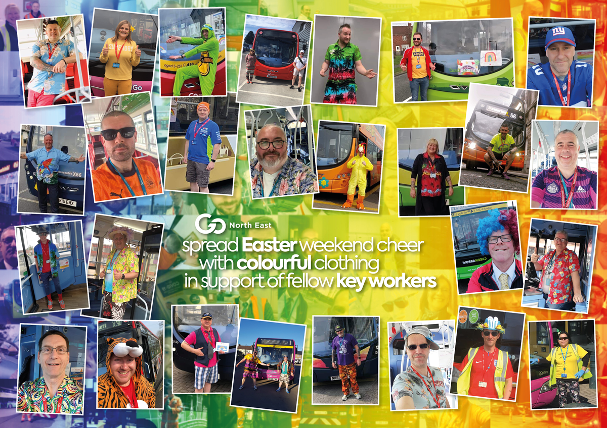 Go North East team members in colourful clothing and fancy dress