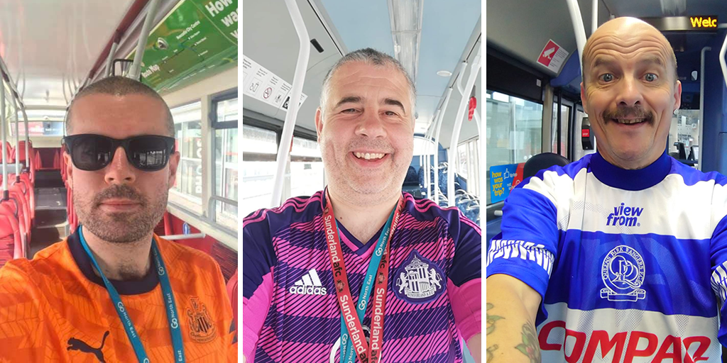 Go North East drivers in football shirts