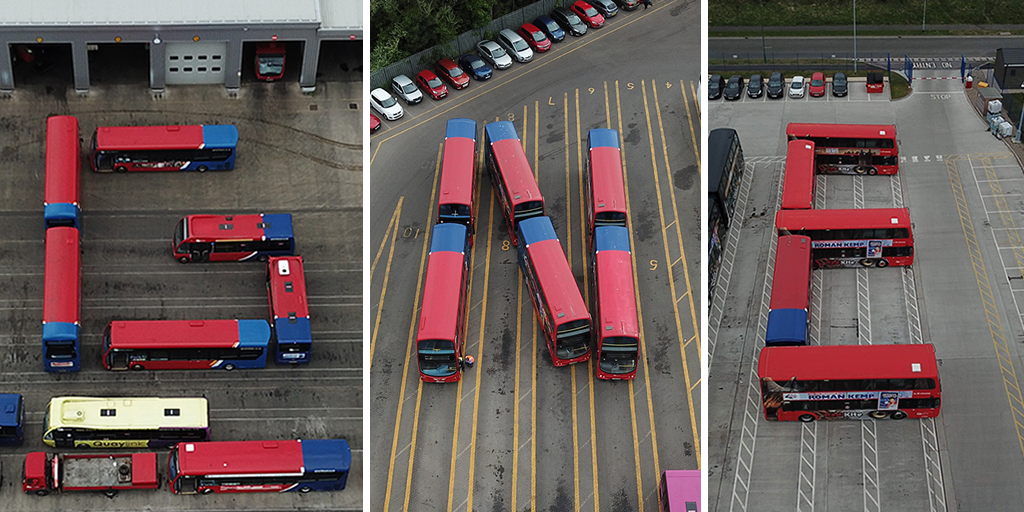 Buses positioned to spell out GNE