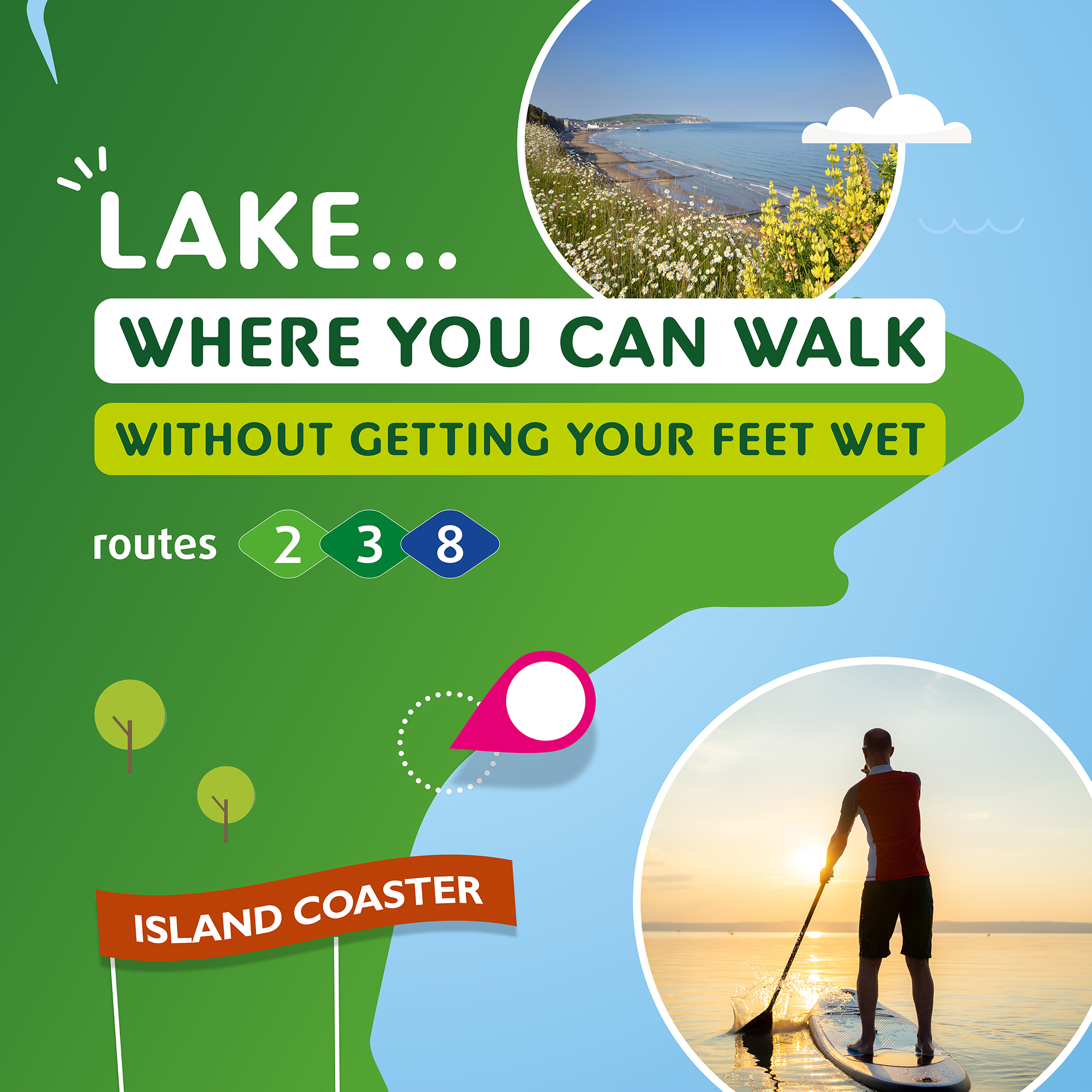 Illustration of Lake where you can walk without getting your feet wet