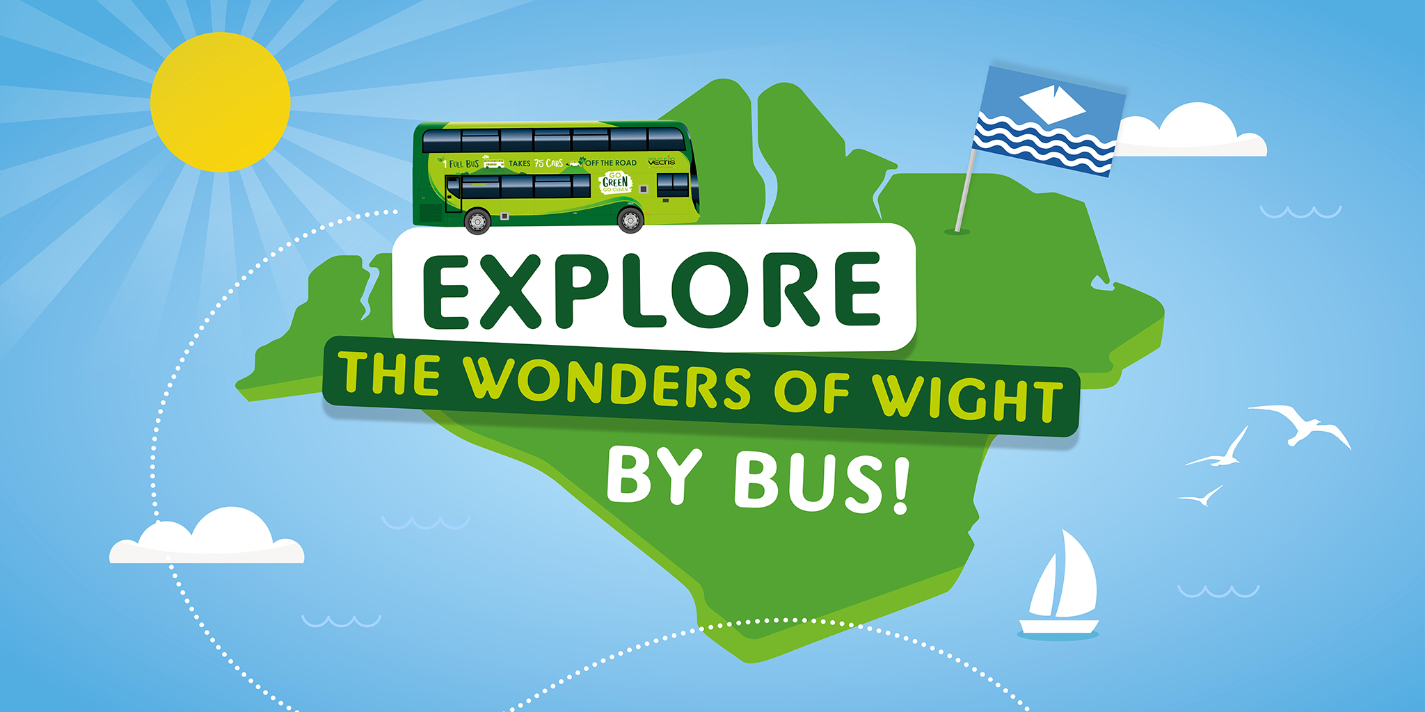 Illustration of exploring the wonders of wight by bus