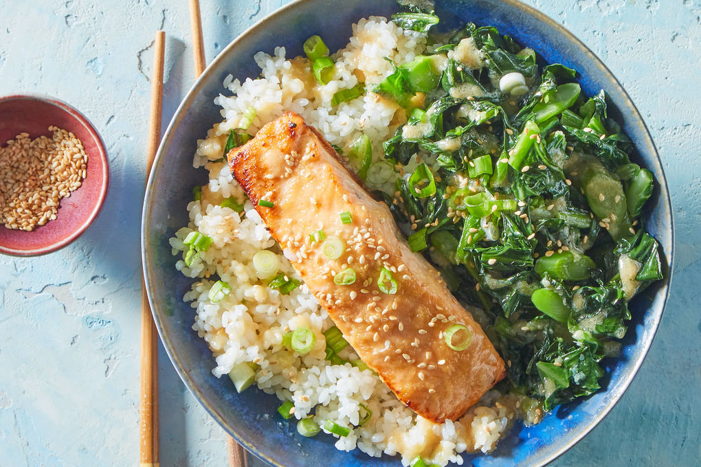 Miso Glazed Salmon Poke Bowl With Chinese Broccoli Sushi Rice Marley Spoon