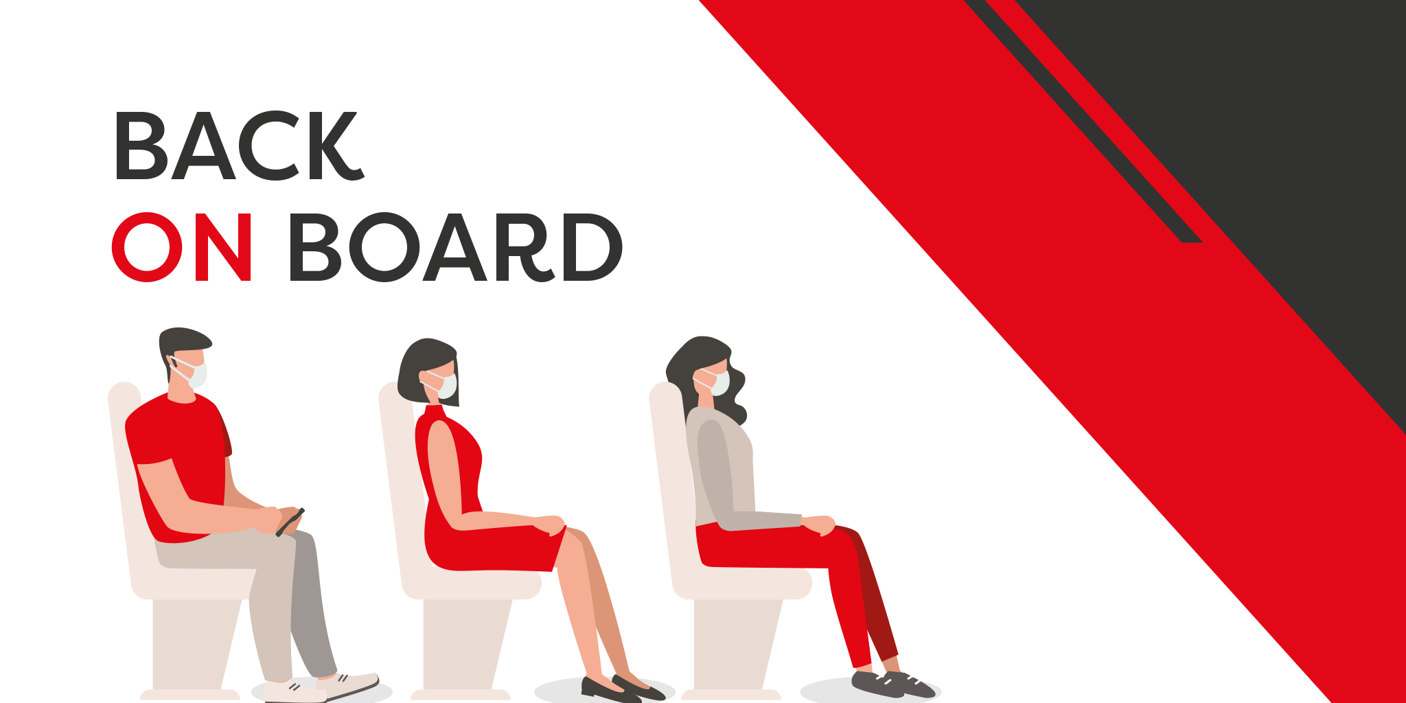 Image of customers sat on board, social distanced with face masks on