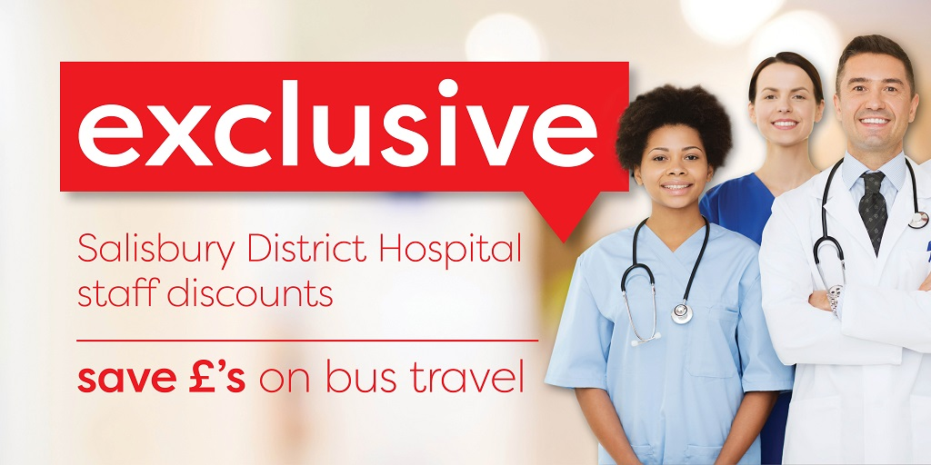 Image reading 'Exclusive Salisbury District Hospital staff discounts - save money on bus travel'