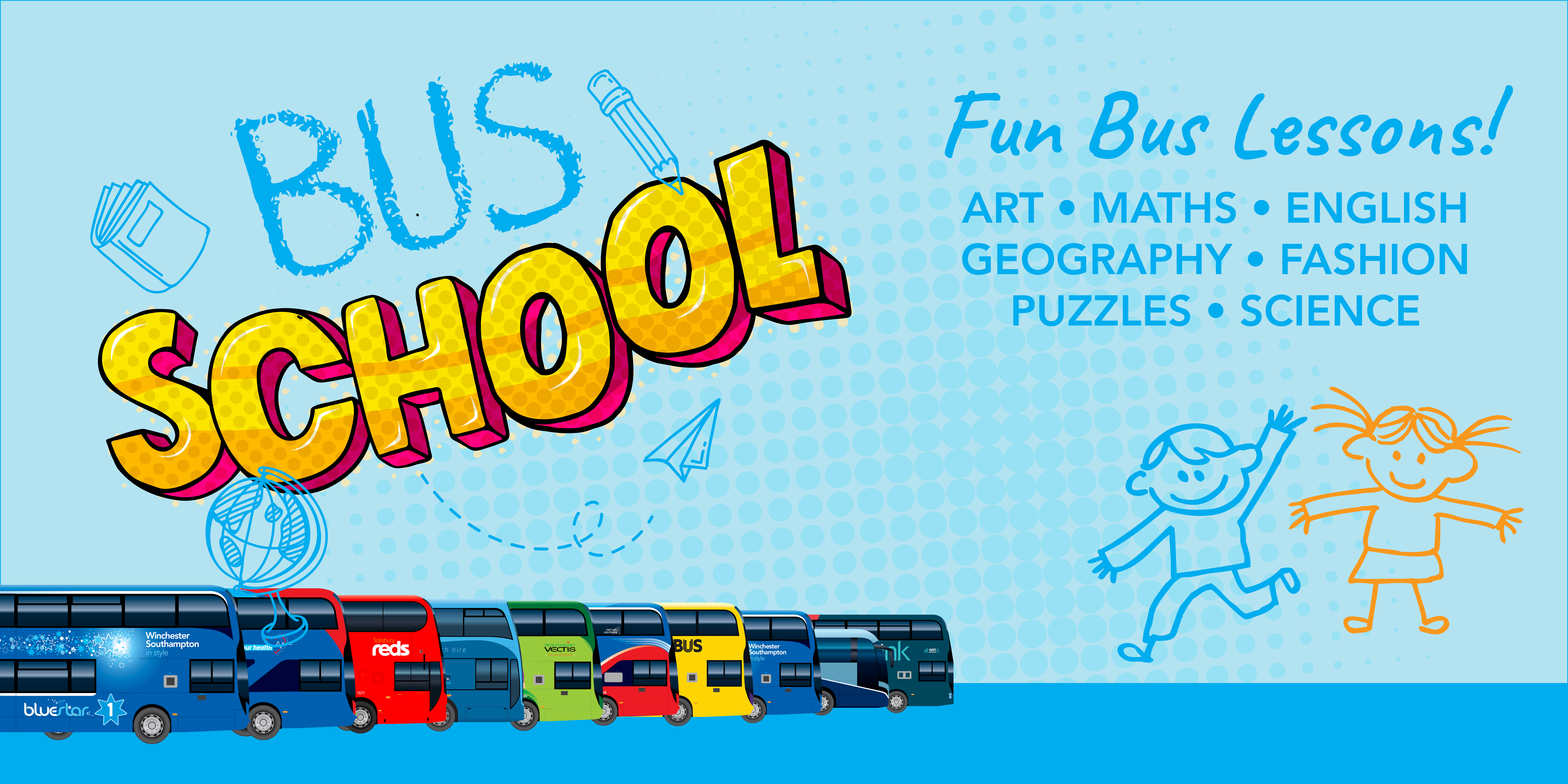 Image reading 'Bus School - fun bus lessons!'
