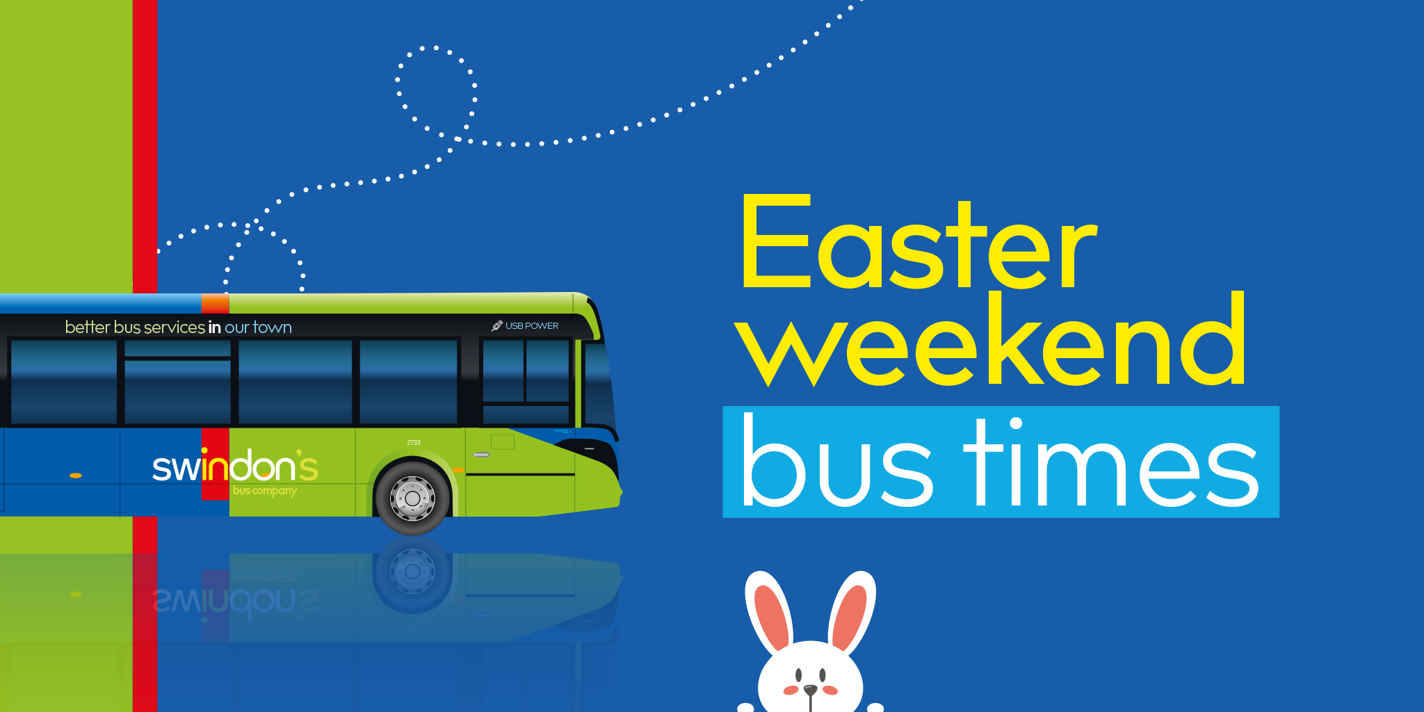 Image reading 'Easter weekend bus times'