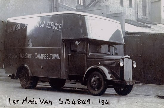 van from 1930s black and white photo