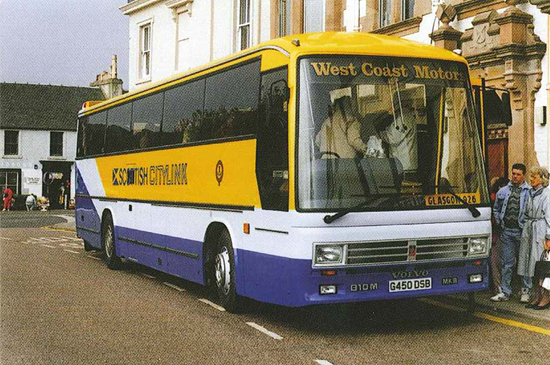 yellow citylink bus with West Coast Motors on the front