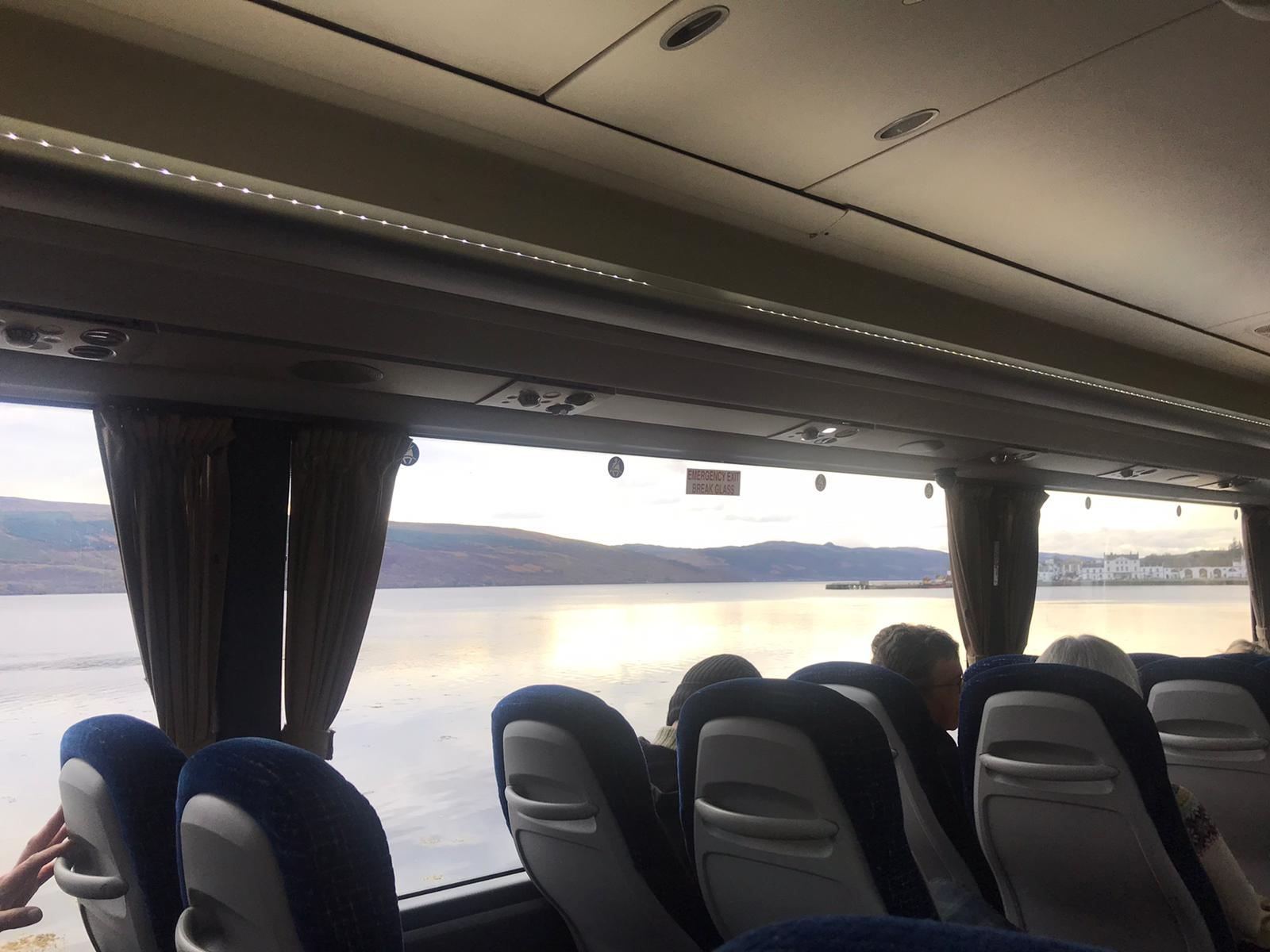 view of water out coach window