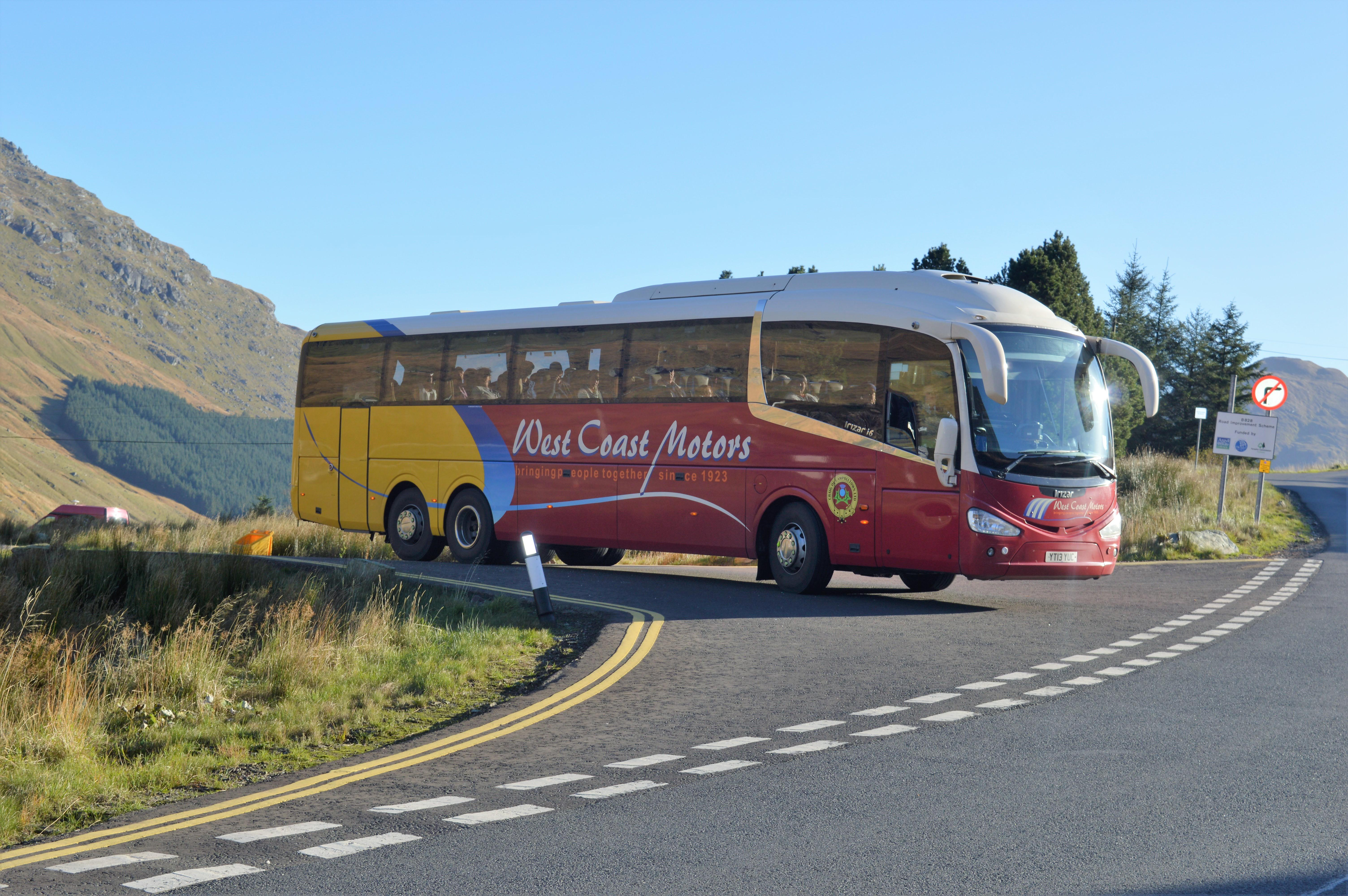 red and yellow coach