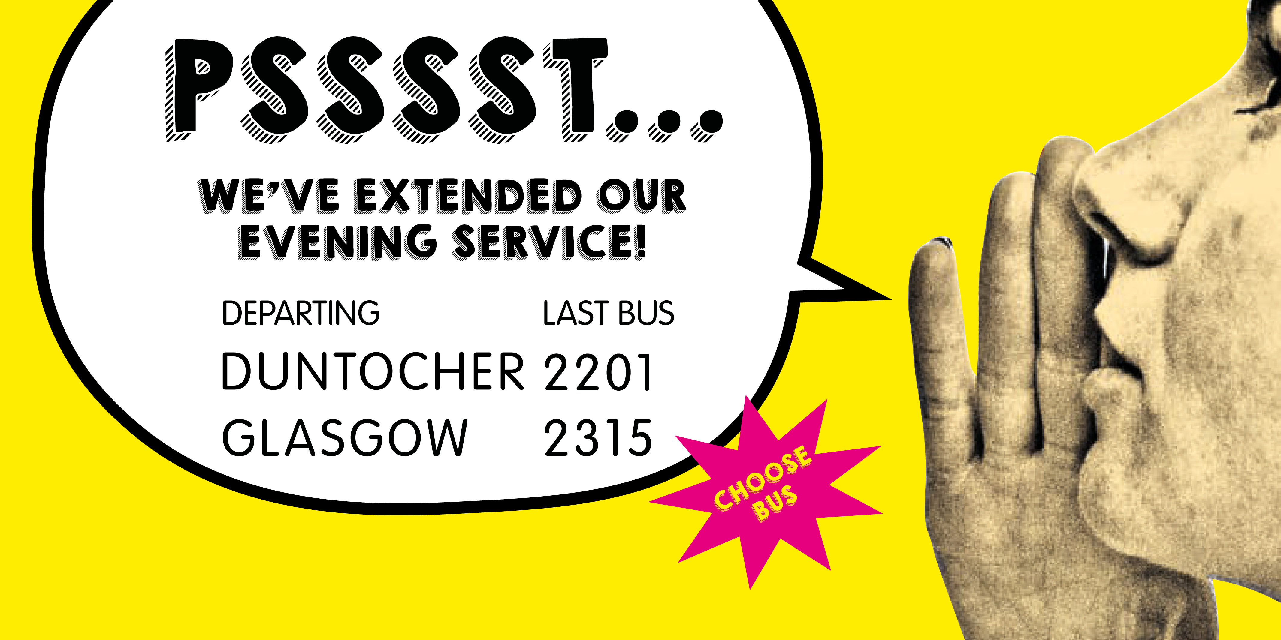 yellow graphic with woman whispering 'psst we've extended our evening service'