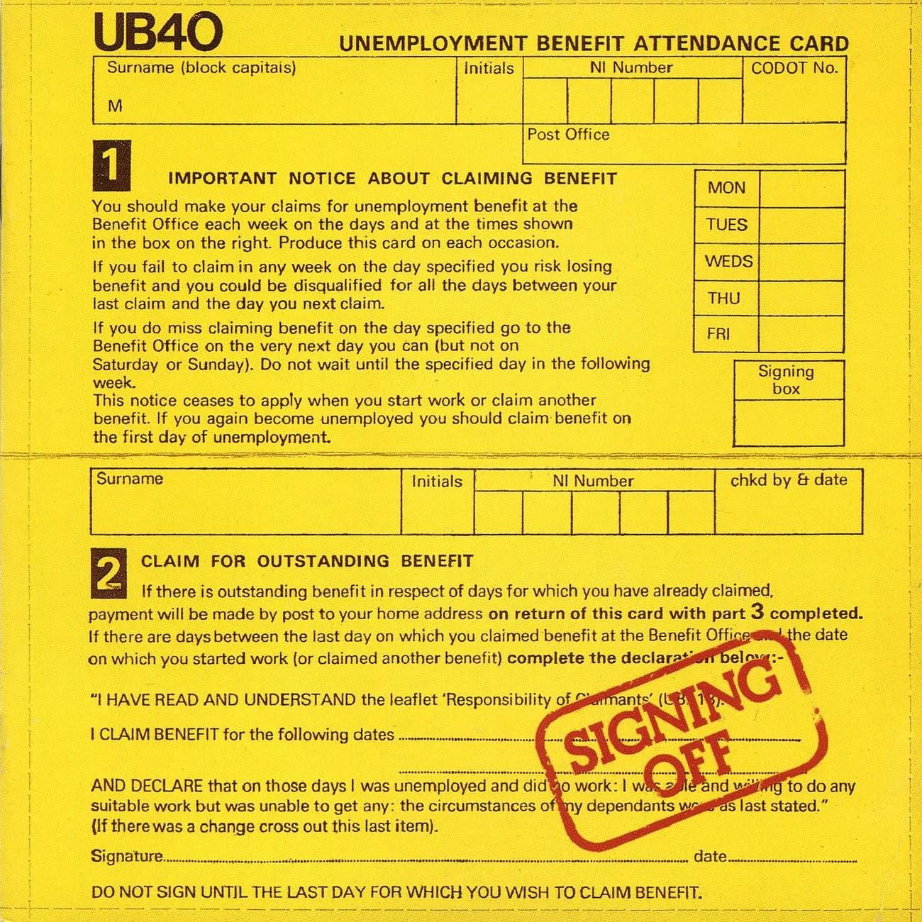 Signing Off [2021 Reissue] - UB40