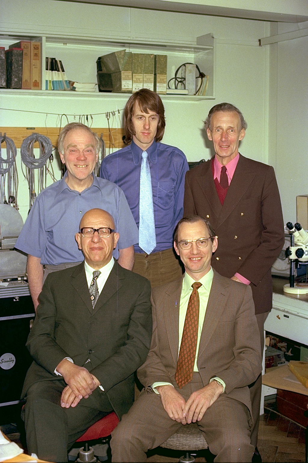 Front -  Bill Livy and Mike Bachelor. Rear -  Francis Thompson, Chris Buchanan and Len Page. In the Abbey Road LAB circa 1974