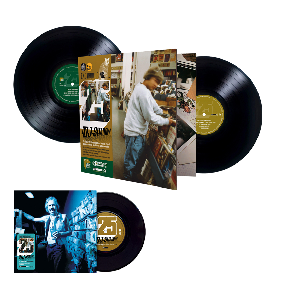 """Endtroducing – 25 (Abbey Road Half Speed Master) + The Number Song (Cut Chemist Remix) / Endtroducing: Drums , Drops & Scratches 7"""" Bundle"""