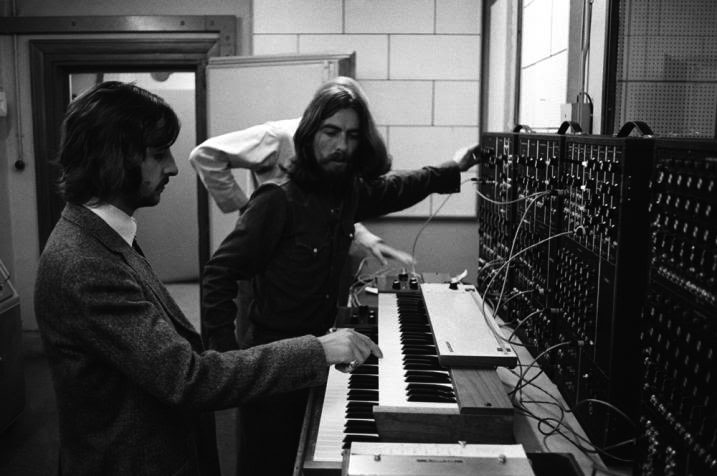 **Ringo Starr** and **George Harrison** on the **Moog Synthesizer** at Abbey Road