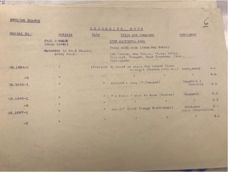 The recording session sheet for his first published song, 'Rockin Chair'.