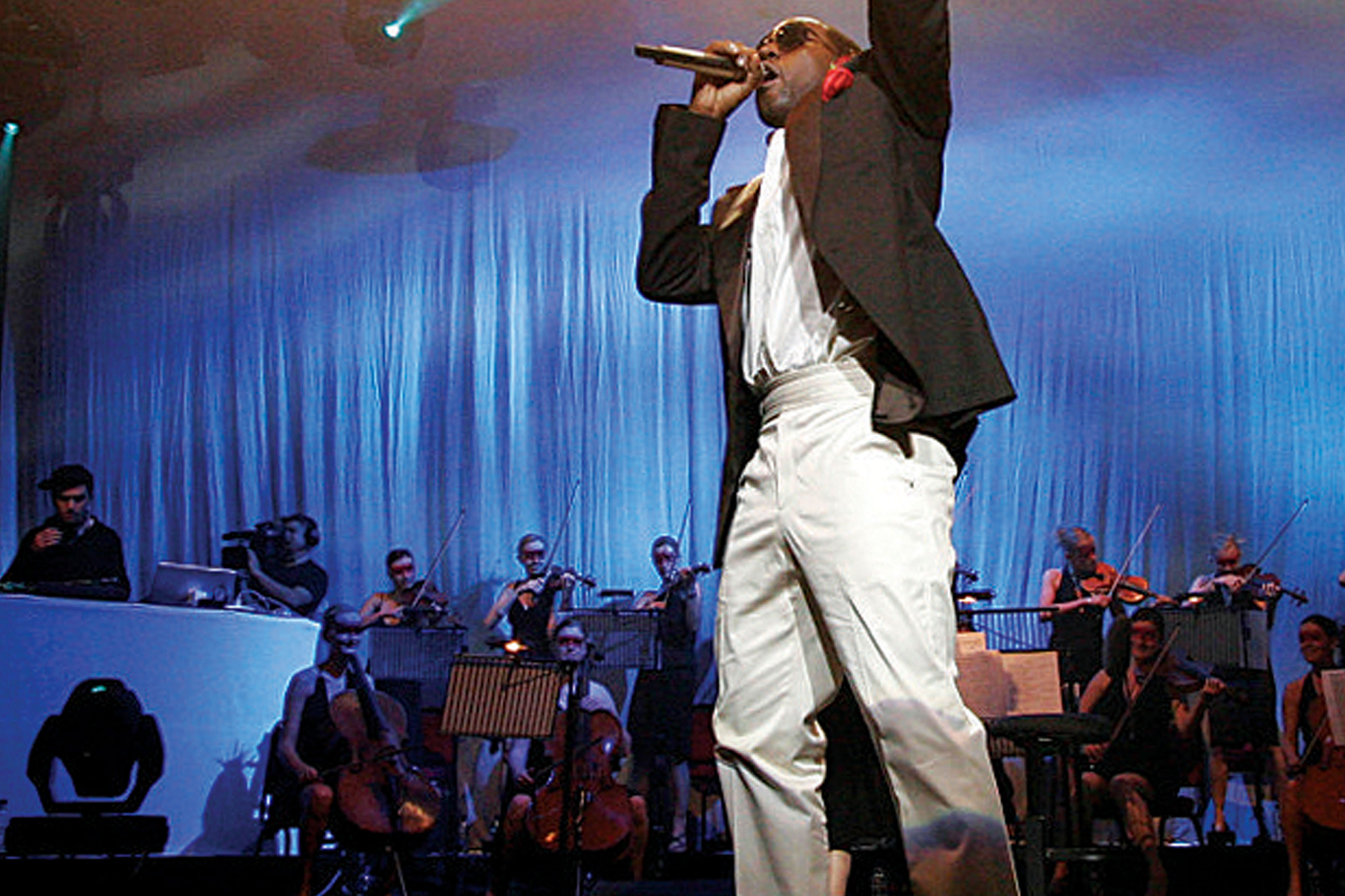 Kanye West in Studio One performing *Late Orchestration*