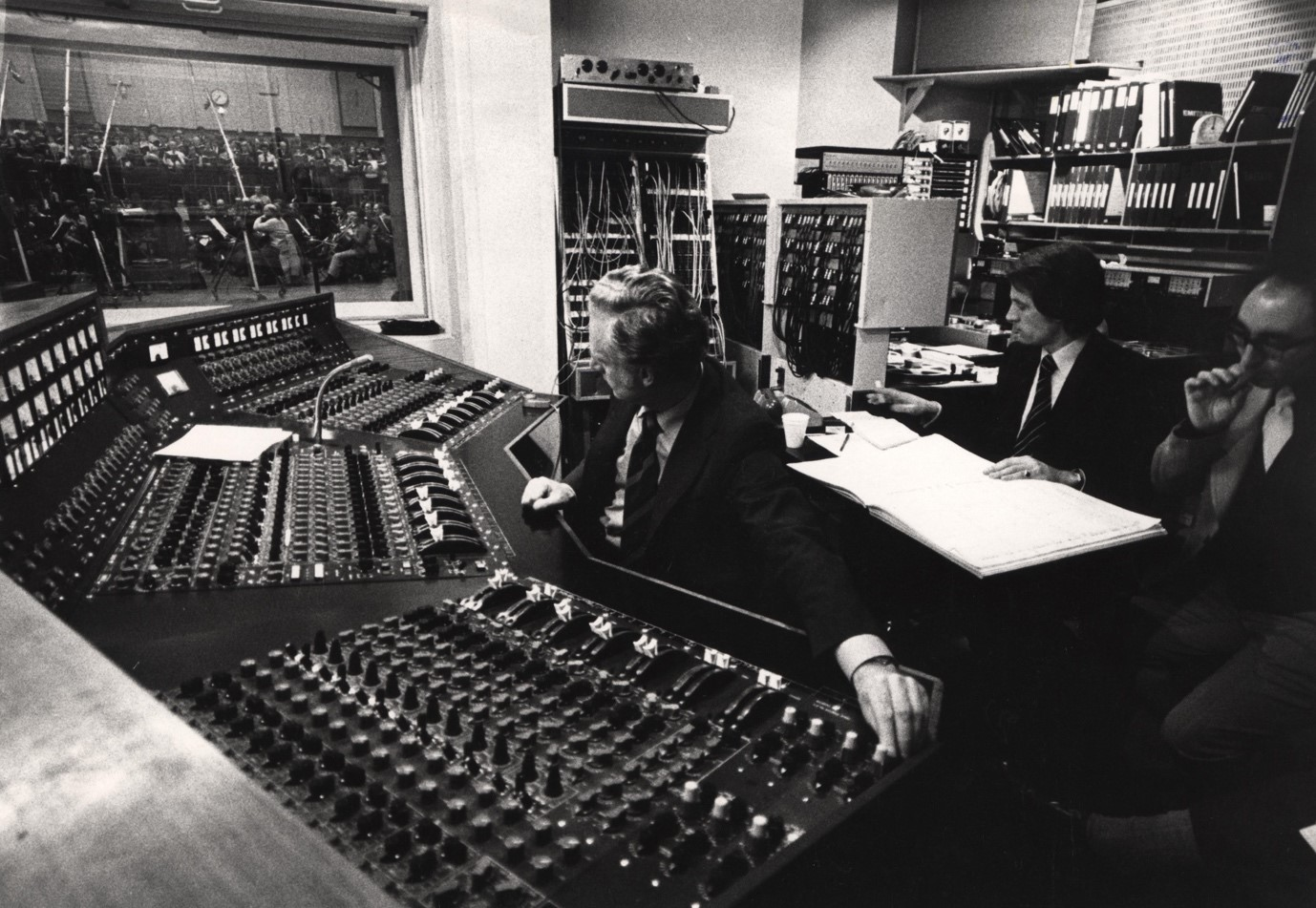 The cramped side-orientated conditions of Studio One control room were less than ideal for film scoring.