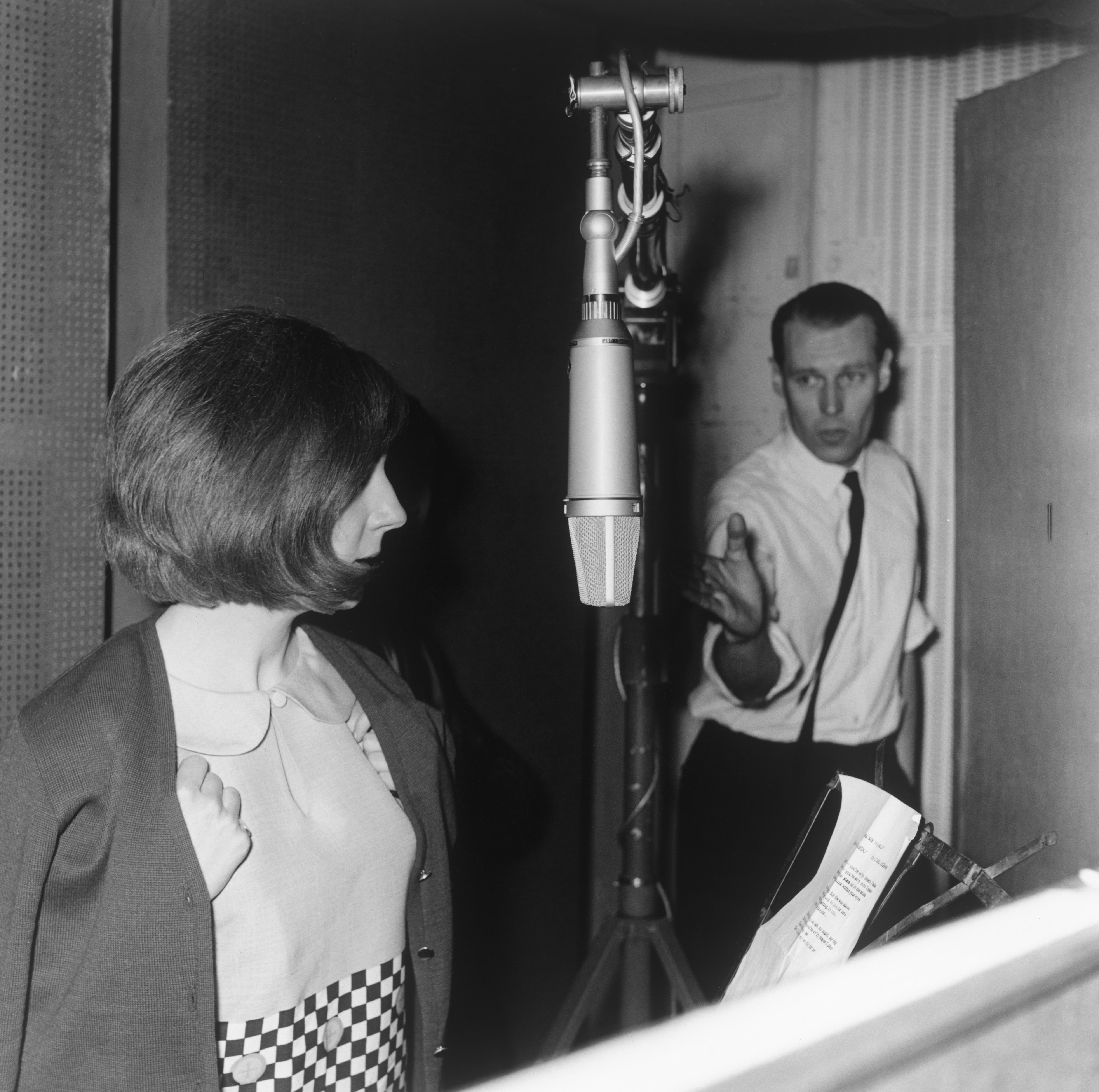 Cilla Black and George Martin in the Studio
